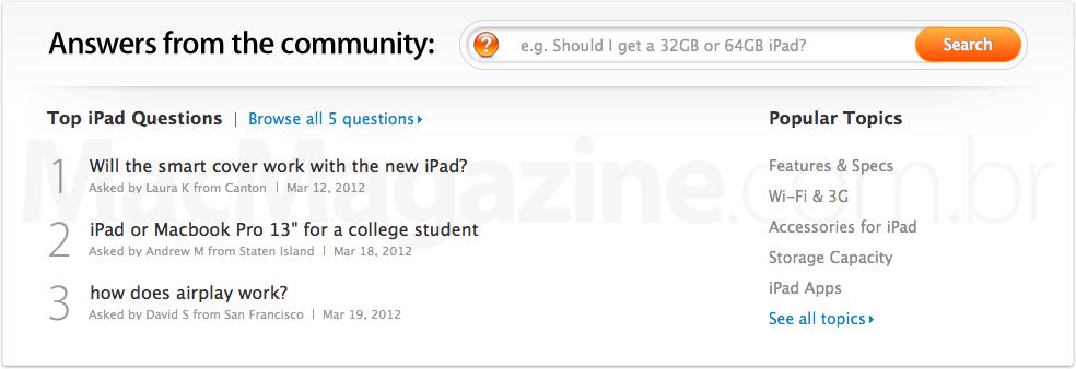 Perguntas e respostas na Apple Online Store