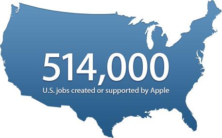 Mapa com empregos - Apple