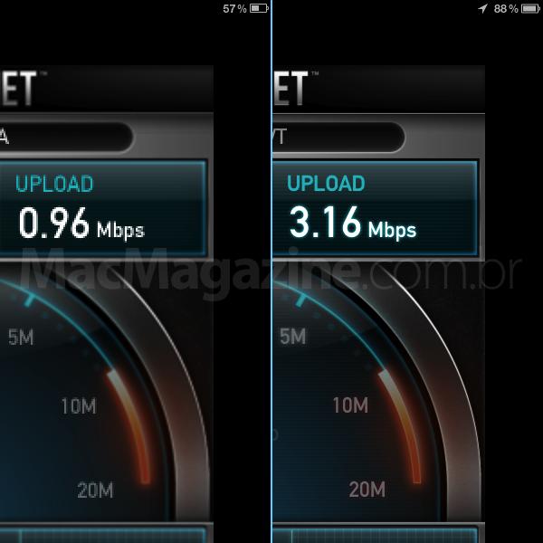 Comparação do Speed Test - iPad-2 vs. novo iPad
