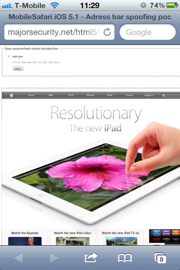 Vulnerabilidade no Mobile Safari do iOS 5.1