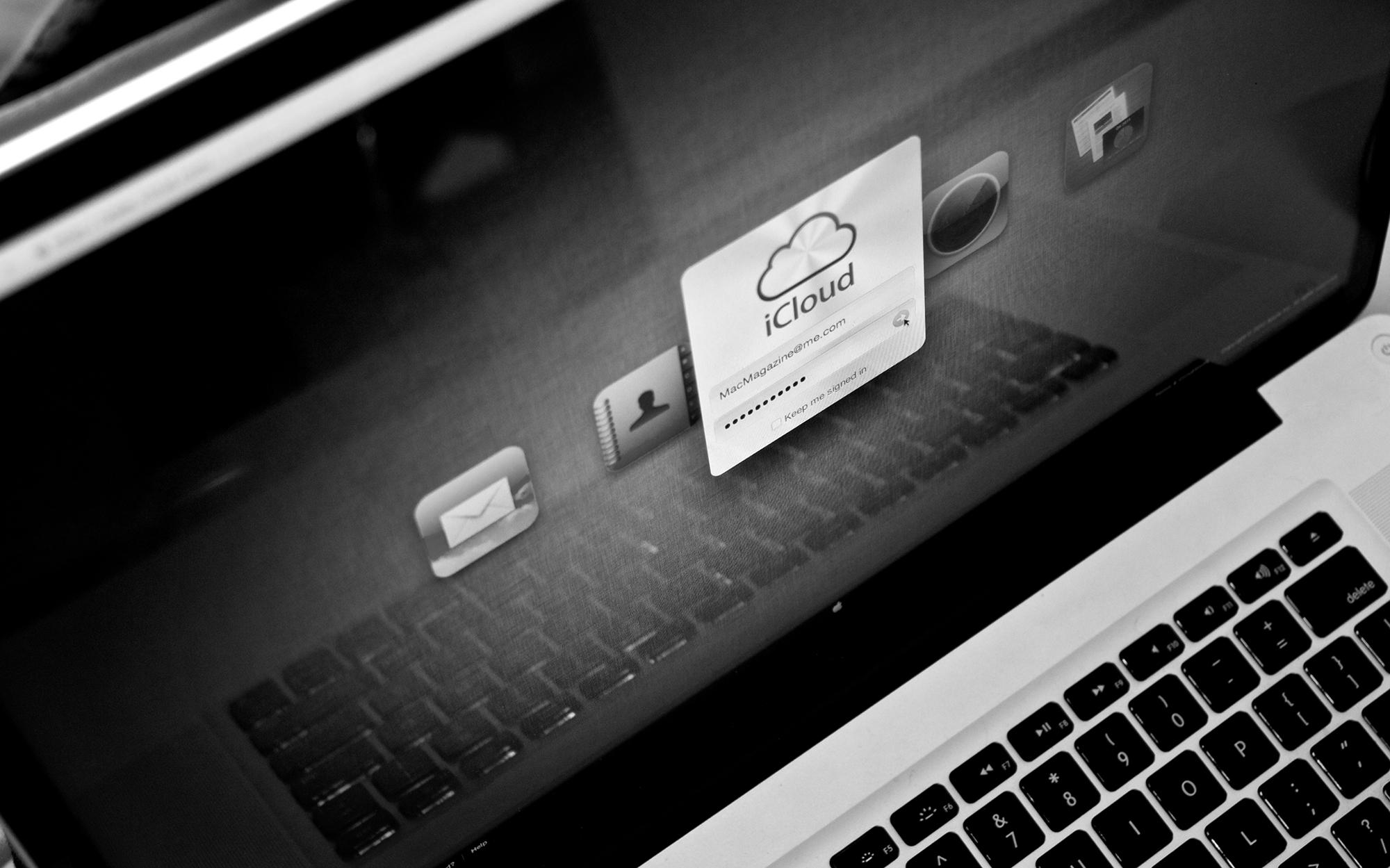 Tela de login do iCloud by MacMagazine - preto e branco