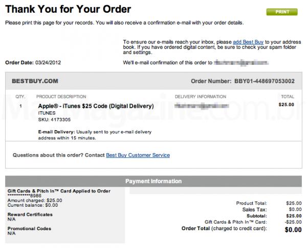Comprando iTunes Gift Card na Best Buy
