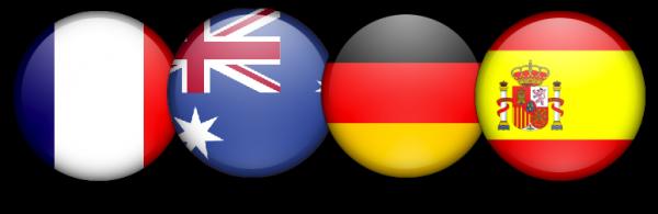 Bandeiras da França, Austrália, Alemanha e Espanha