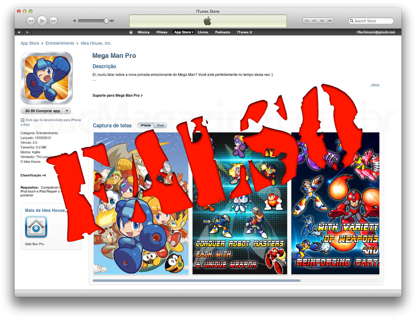 Mega Man Pro falso na App Store