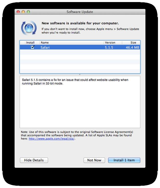 Atualização - Safari 5.1.5