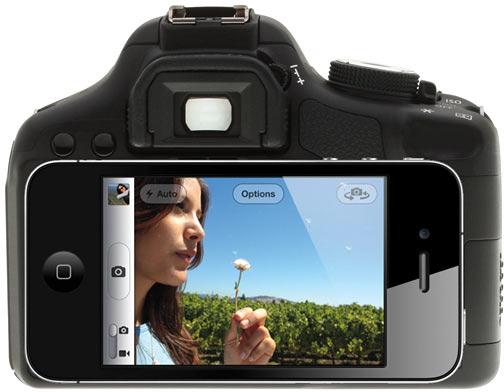 Câmera DSLR com dock para iPhone
