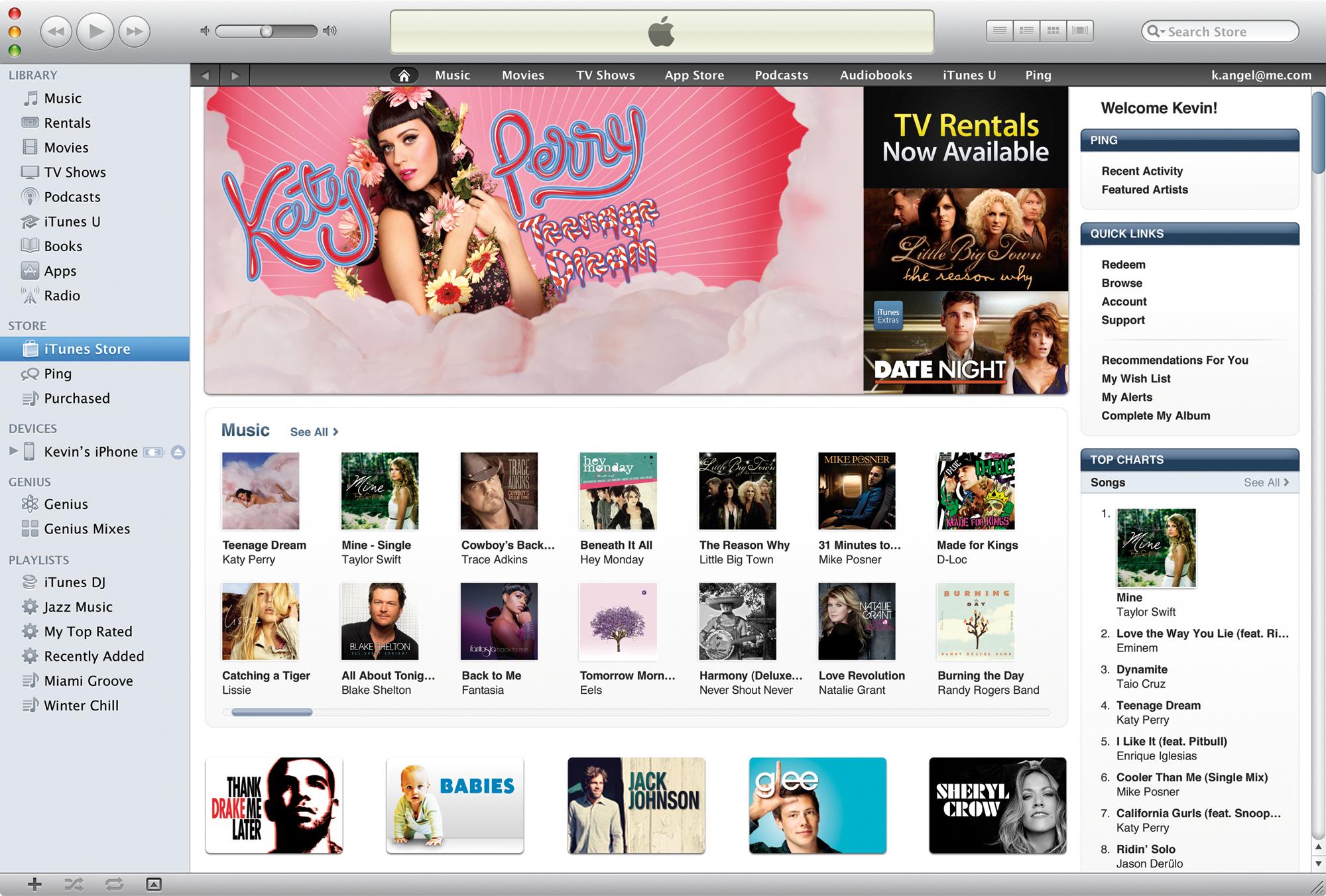 Página inicial da iTunes Store