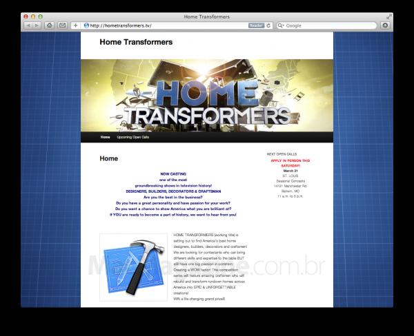 Site do reality show Home Transformers, da NBC