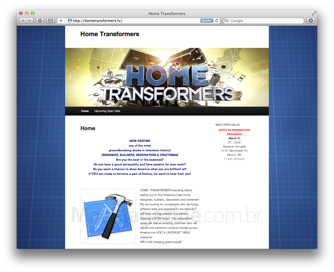 Site do reality show Home Transformers, da NBC