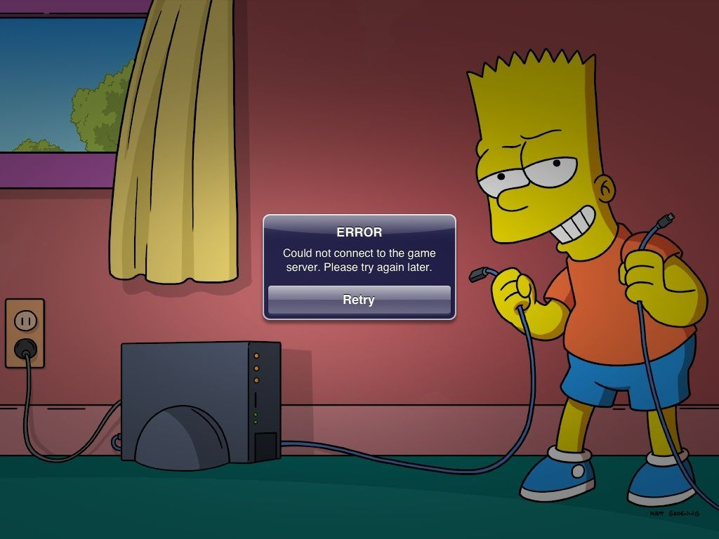 Erro no jogo The Simpsons: Tapped Out
