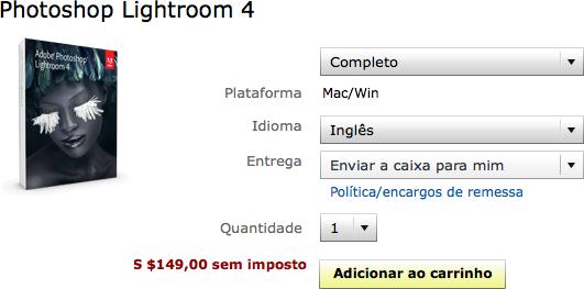 Preço do Adobe Photoshop Lightroom 4 em inglês