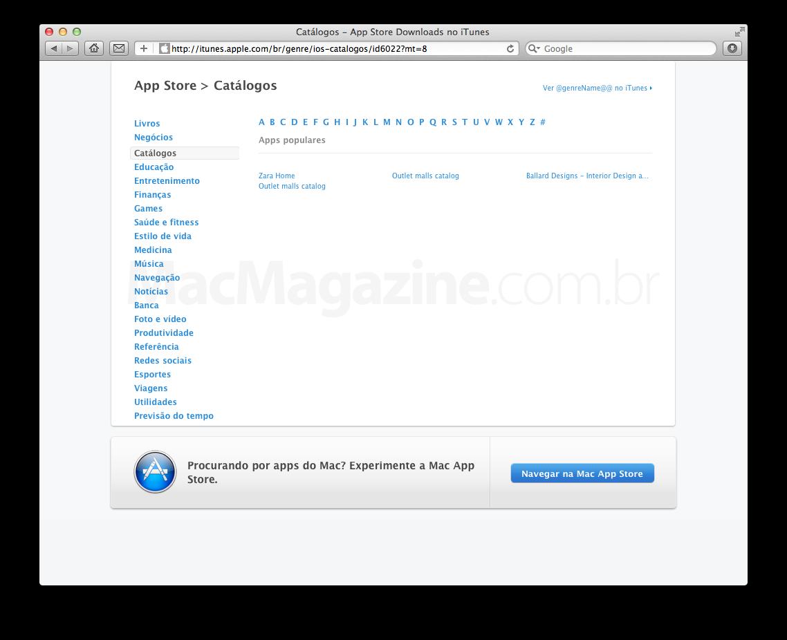 Nova categoria Catálogos na App Store