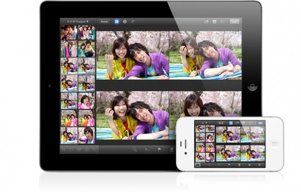 iPhoto rodando em um iPad e iPhone
