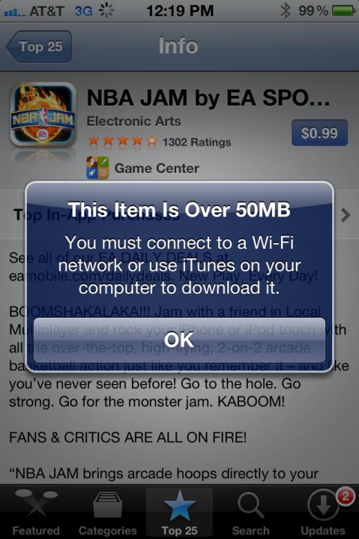 Novo limite de 50MB - App Store