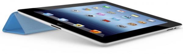 Novo iPad com Smart Cover azul