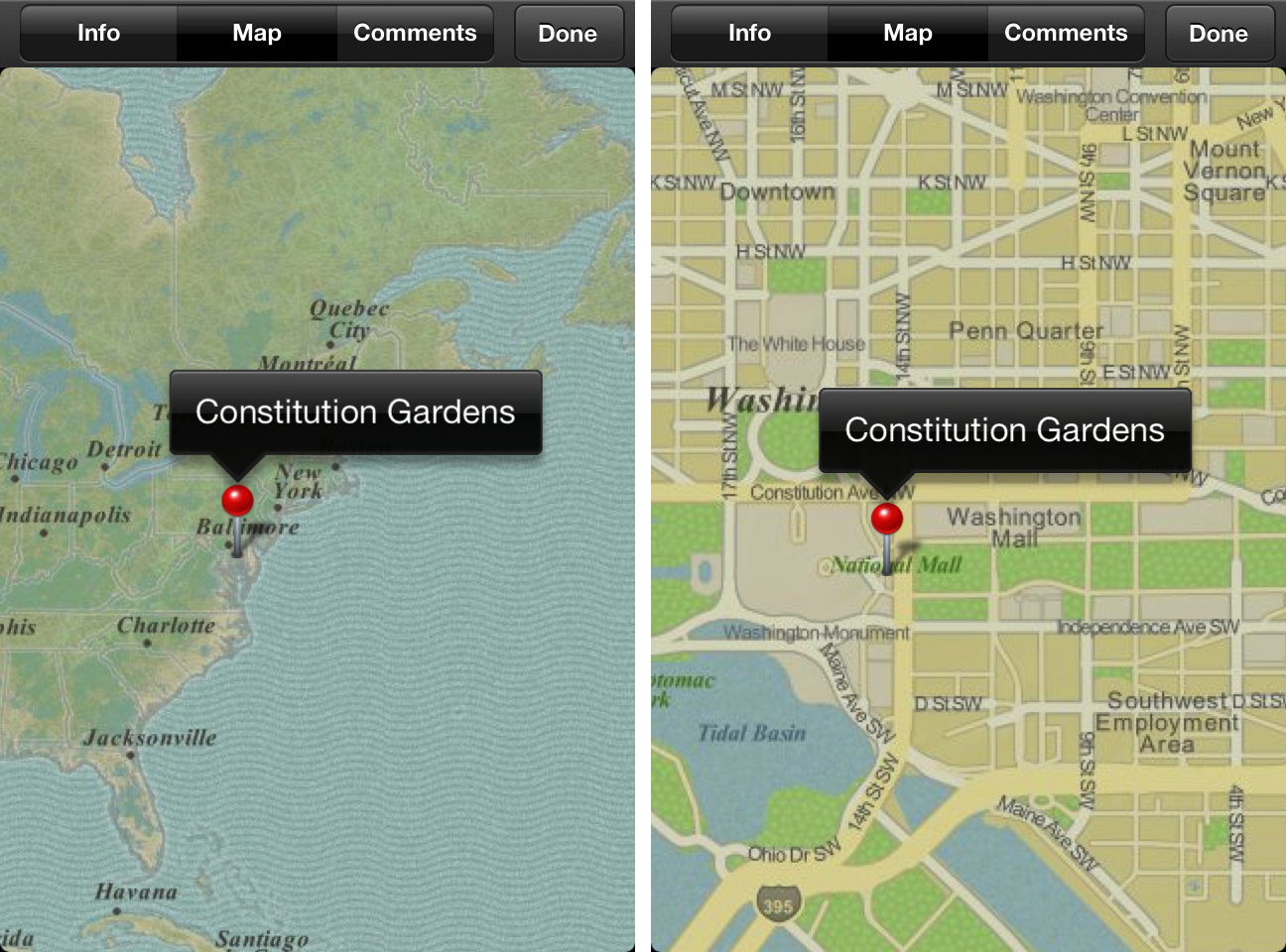 Telas do iPhoto (iOS) com mapas