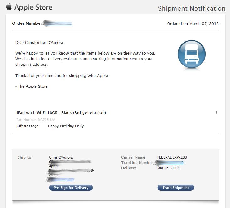 Notificação de despacho de iPad