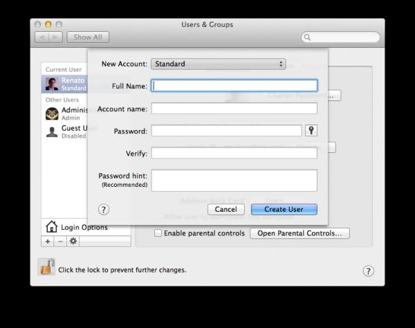 Painel de usuários e grupos no Mac OS X