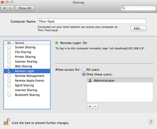 Compartilhamento no Mac OS X