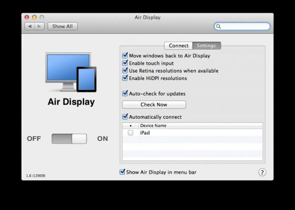 Air Display com HiDPI
