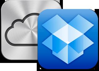 Ícones do iCloud e do Dropbox