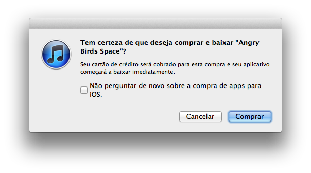 Comprando Angry Birds Space na App Store brasileira