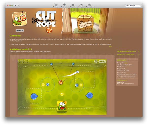 Jogo na Mac App Store brasileira