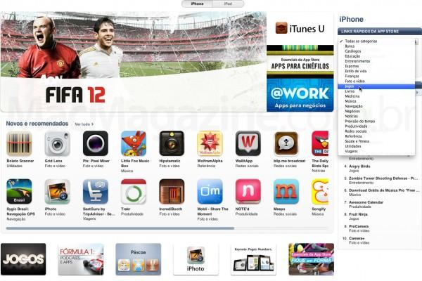 Menu Jogos na App Store brasileira