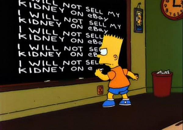 Bart dizendo que não irá vender seu rim