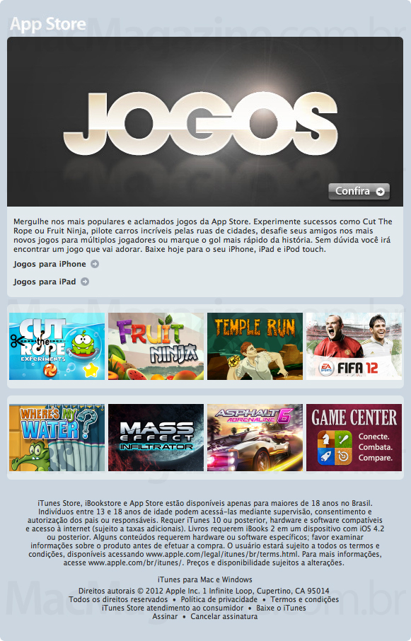 Email marketing sobre jogos na App Store brasileira