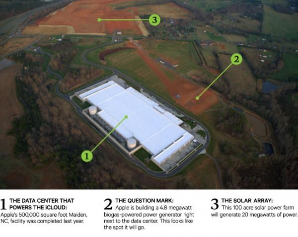 Foto aérea do data center da Apple