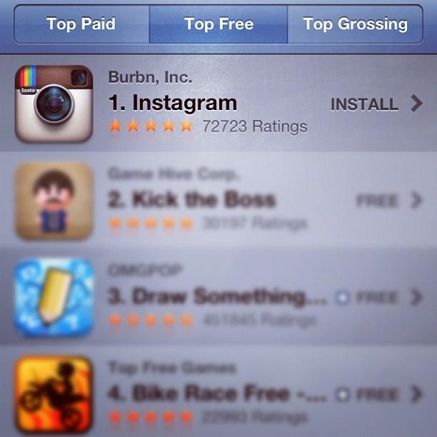 Instagram como número um na App Store