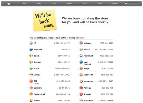 Antigo aviso (fora do ar) da Apple Online Store