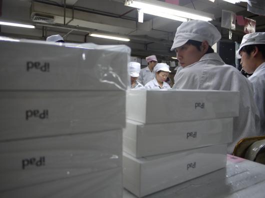 iPads em fábrica da Foxconn