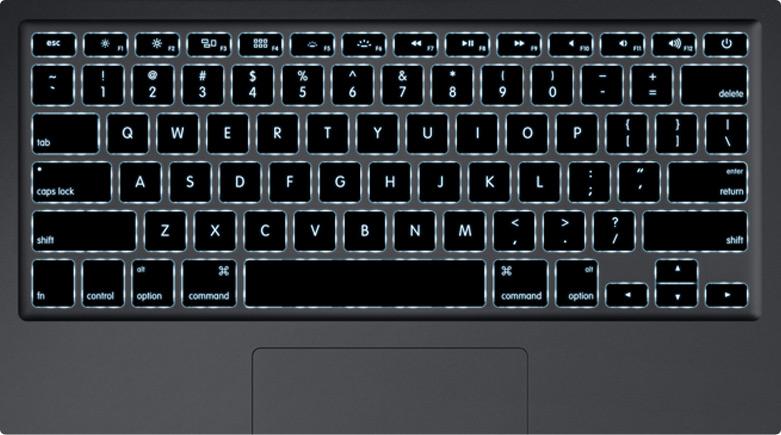 Teclado americano retroiluminado de um MacBook Air