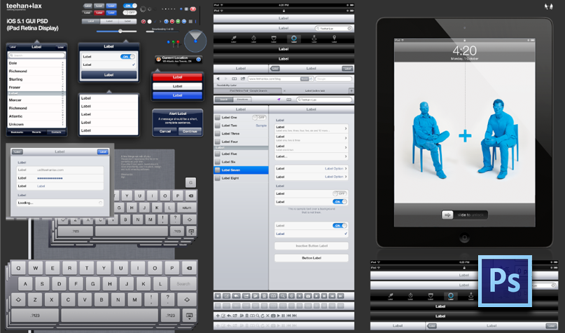 GUI do novo iPad em Retina