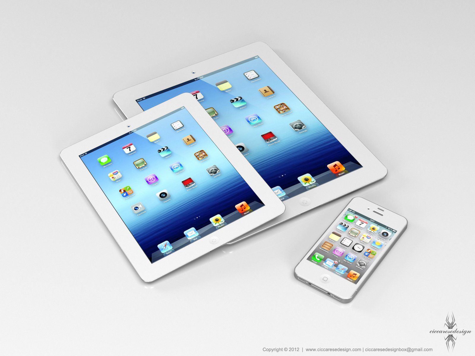 Mockup de iPad mini com iPhone
