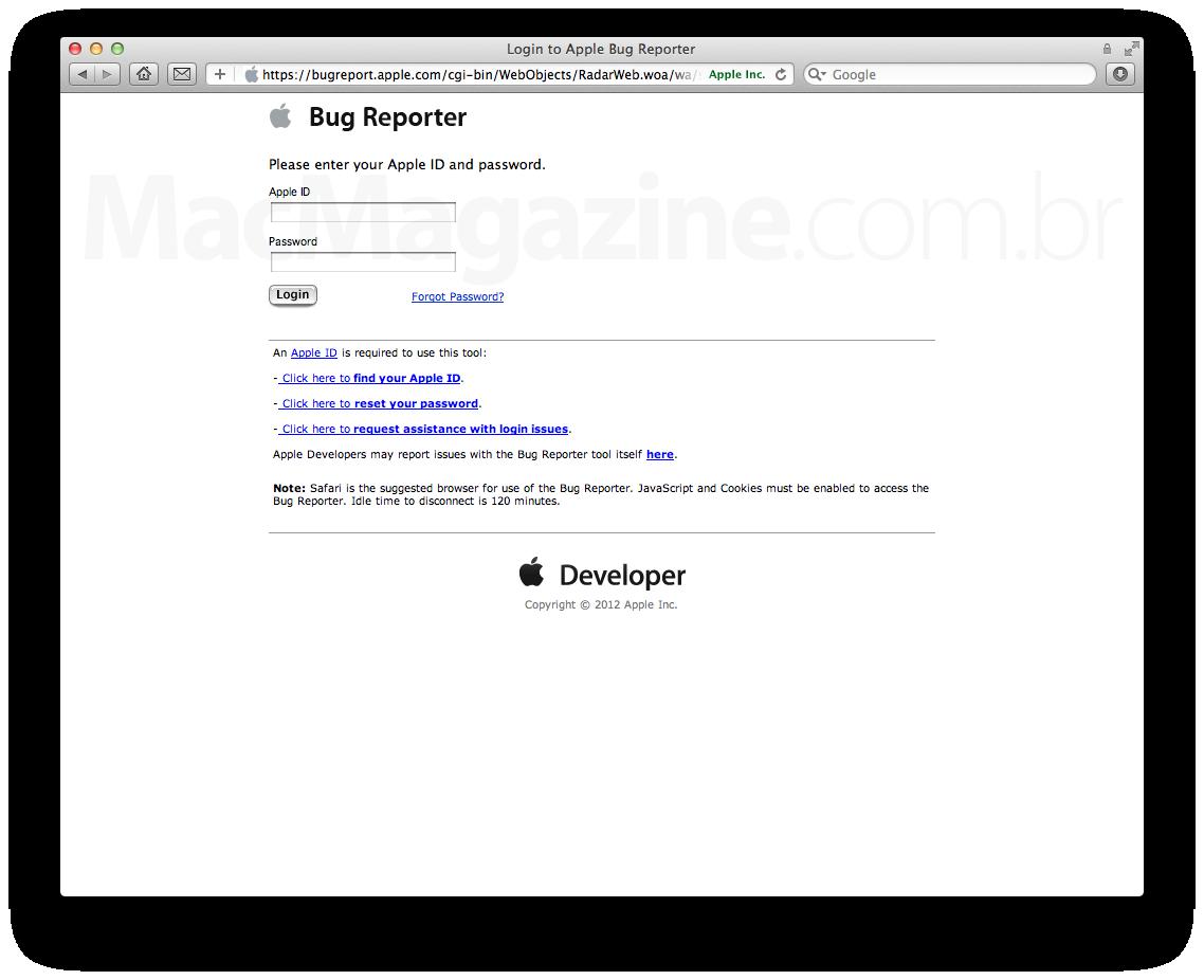 Radar - Ferramenta de relatório de erros da Apple