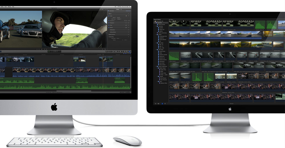 Final Cut Pro X rodando em um  iMac + Thunderbolt Display