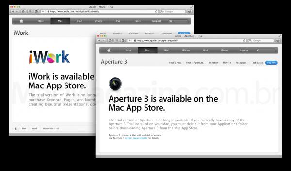 Softwares trial da Apple