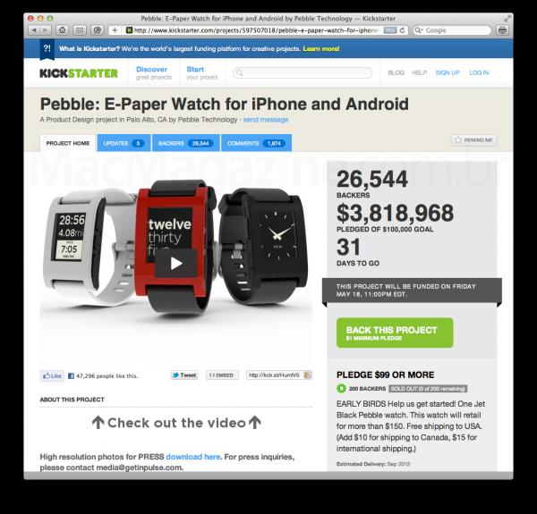 Pebble no Kickstarter