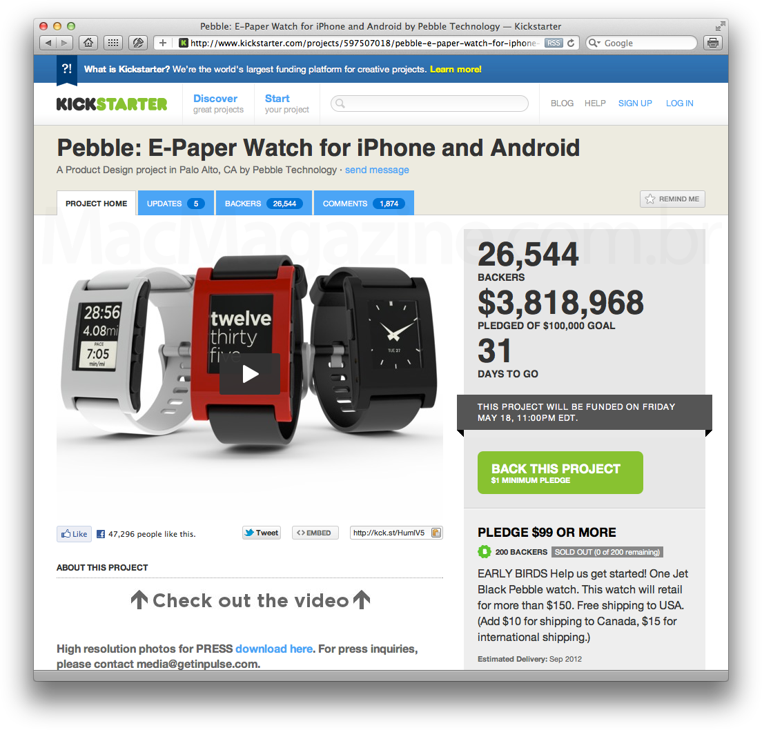 Pebble no Kickstarter