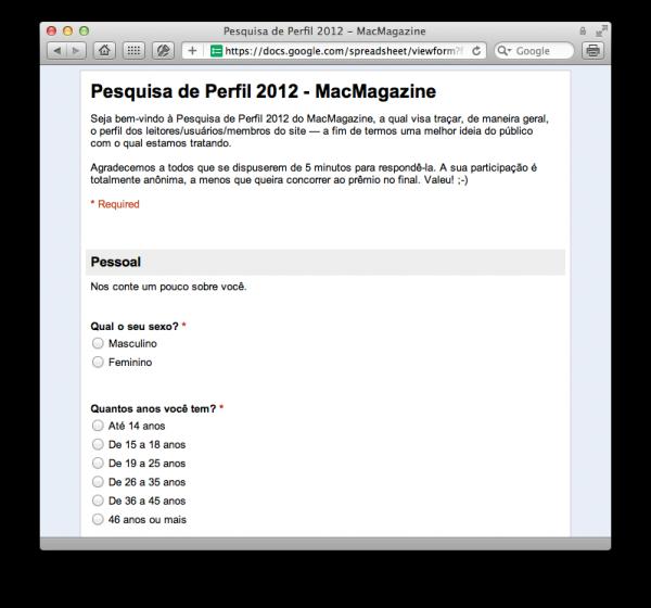Pesquisa de Perfil 2012 - MacMagazine