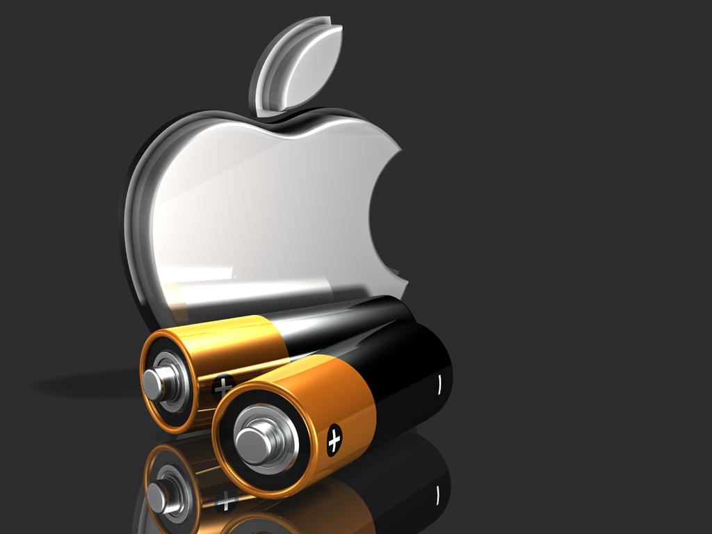 Logo da Apple com duas pilhas em frente