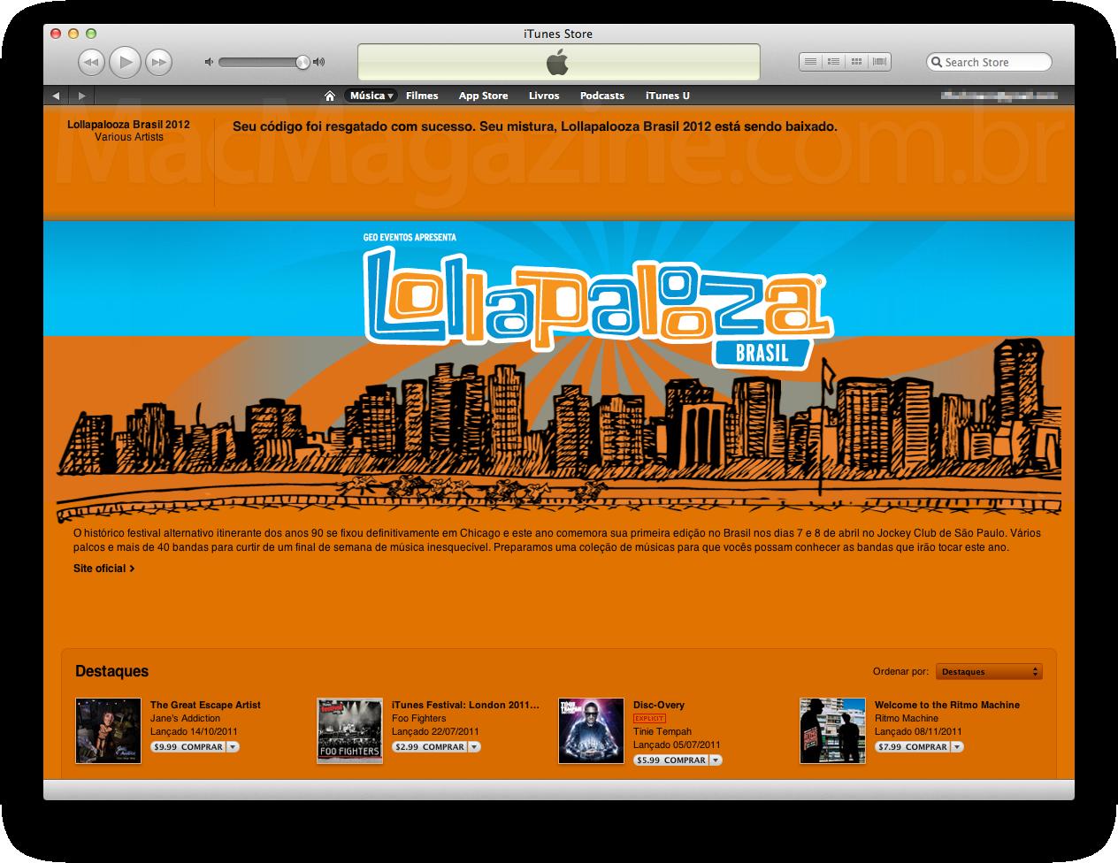 Lollapalooza Brasil no iTunes