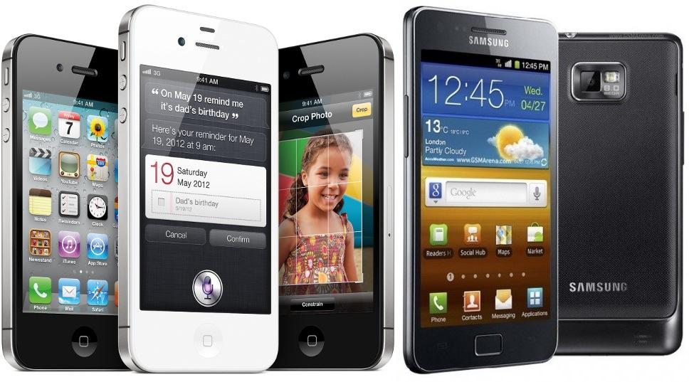Smartphones da Apple e da Samsung