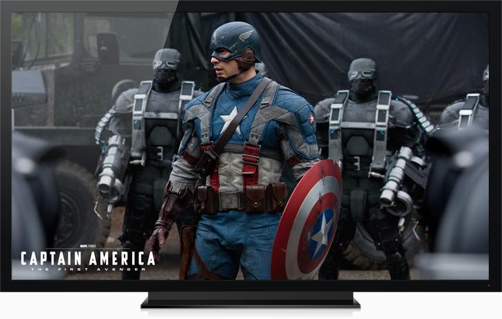 Televisor passando filme do Capitão América