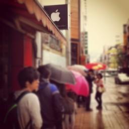 Fila para o novo iPad na Coreia do Sul