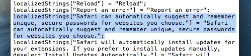 Código do Safari 5.2 - Sugestão de senhas