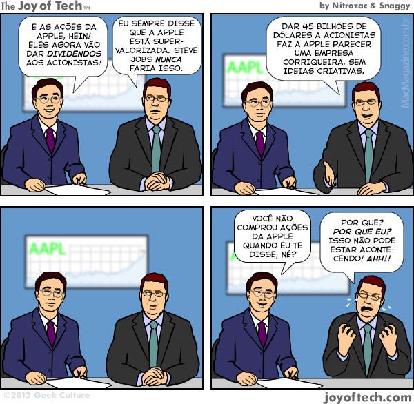Joy of Tech - A agonia das ações da Apple